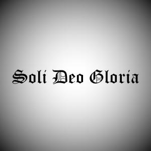 Soli Deo Gloria old english logo square